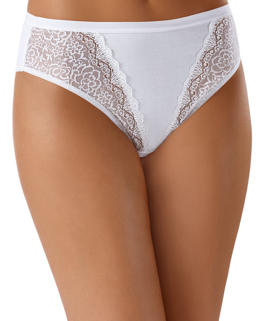 White cotton lace panel briefs Sale - INTIMATES