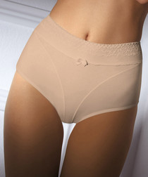 Beige cotton hi-rise briefs