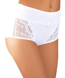 White cotton lace panel hi-rise briefs