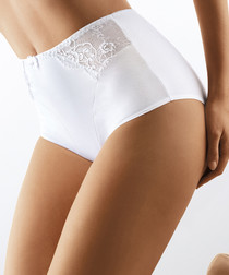 White cotton lace panel hi-rise briefs