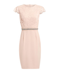Diana light pink short sleeve dress