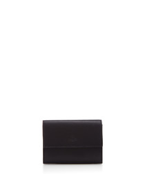Origami black leather card case