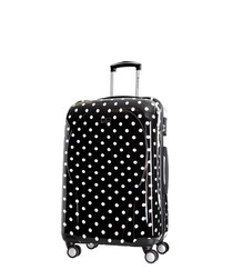Black polka dot spinner suitcase 50cm