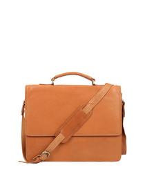 Cognac leather strap briefcase