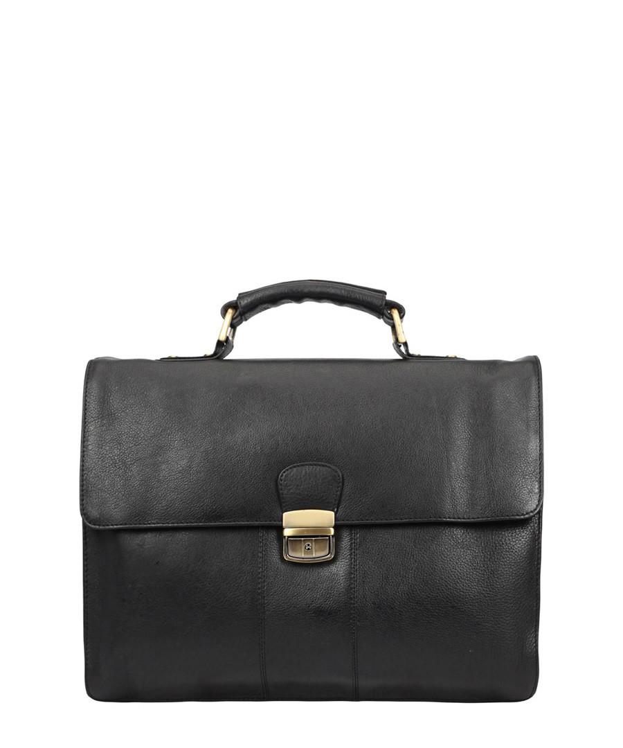 Black leather top handle briefcase Sale - Lloyd Baker