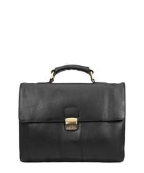 Black leather top handle briefcase