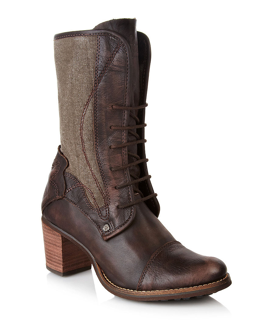 discount brown leather and canvas boots secretsales