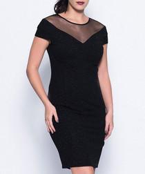 Black mesh panel knee-length dress
