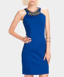 Blue leaf embellished mini dress