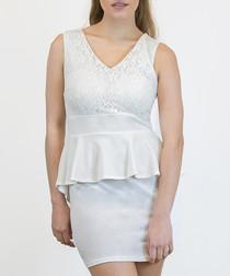 White lace peplum sleeveless mini dress