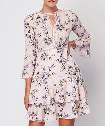 Pink floral print keyhole ruffle dress