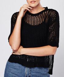 Black crochet short sleeve blouse