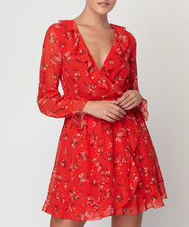Scarlet floral print ruffle mini dress