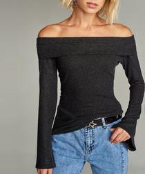 Grey cotton off-the-shoulder blouse