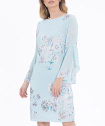 Light blue floral print dress