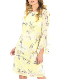 Yellow floral print knee-length dress