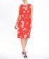 Red floral print keyhole sheath dress Sale - zibi london Sale