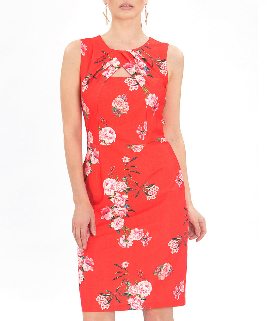 Red floral print keyhole sheath dress Sale - zibi london