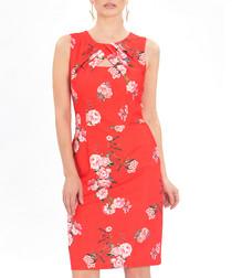 Red floral print keyhole sheath dress