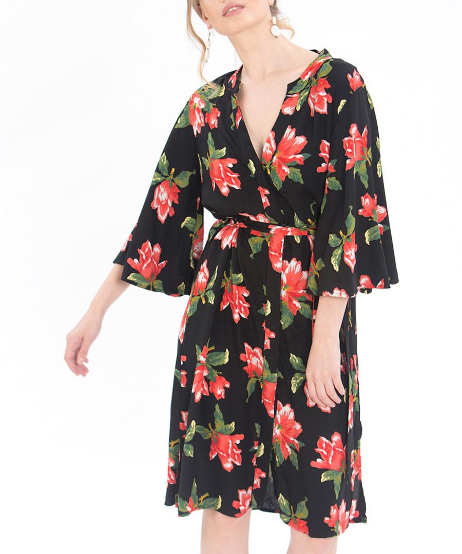 Black floral print wrap dress Sale - zibi london