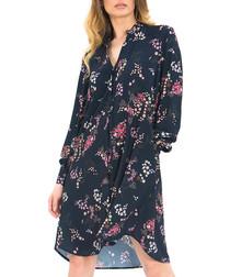 Navy floral print button-up shirt dress