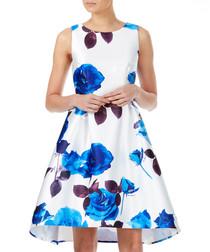 White & blue floral hi-lo dress