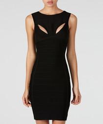Black cut-out bandage mini dress