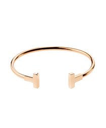 Gold-tone stainless steel T bangle