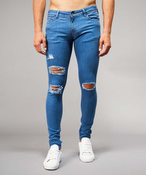 Mid-wash blue cotton blend ripped jeans