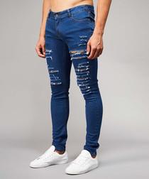 Camden dark blue cotton blend torn jeans