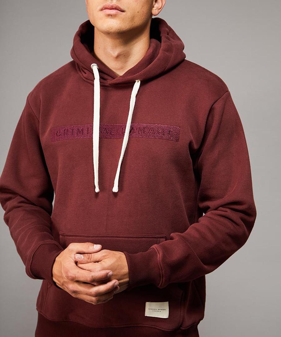 Hiber burgundy cotton blend hoodie Sale - criminal damage