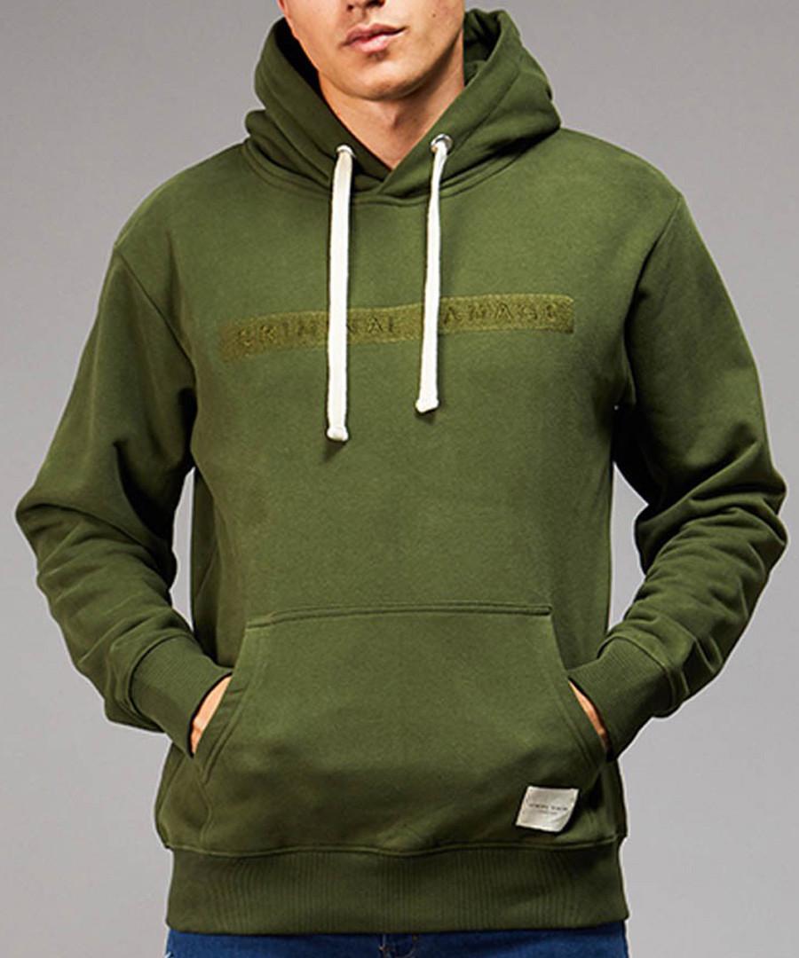 Hiber olive cotton blend slogan hoodie Sale - criminal damage