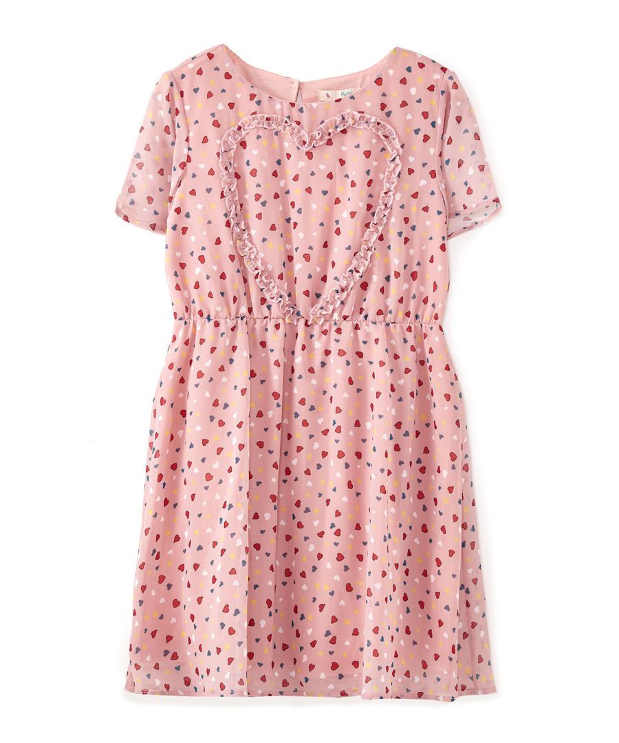 Frill Heart dusty pink print dress Sale - yumi girls
