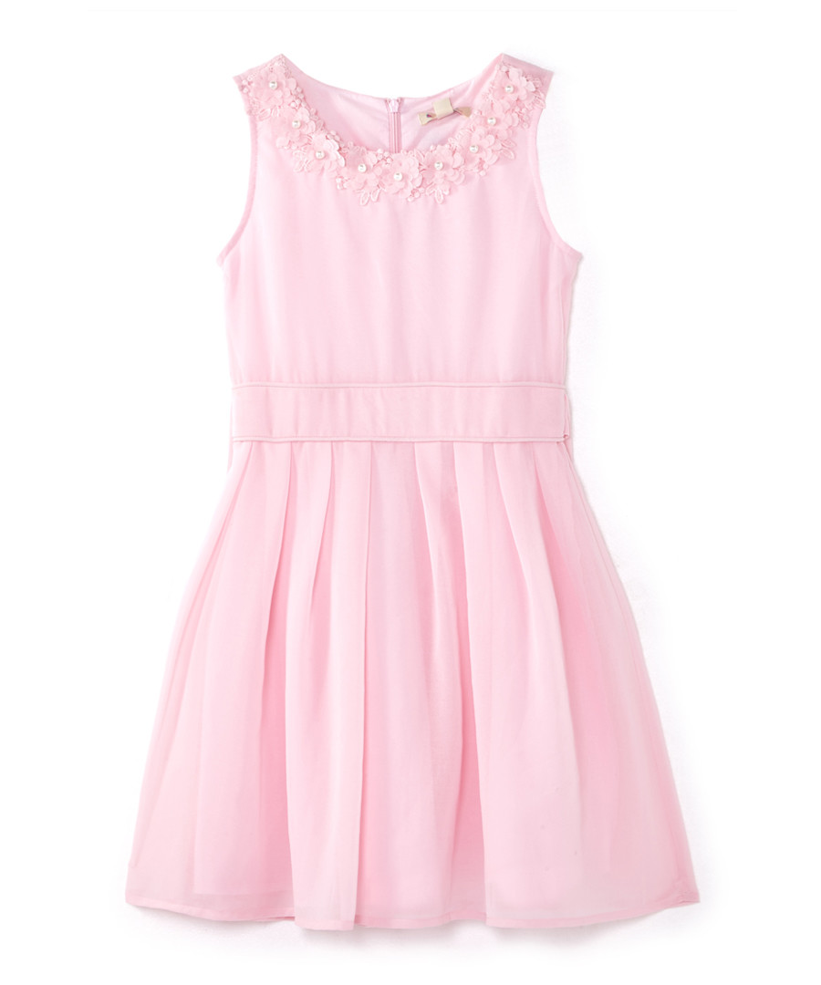Girl's Pale pink floral applique dress Sale - yumi girls