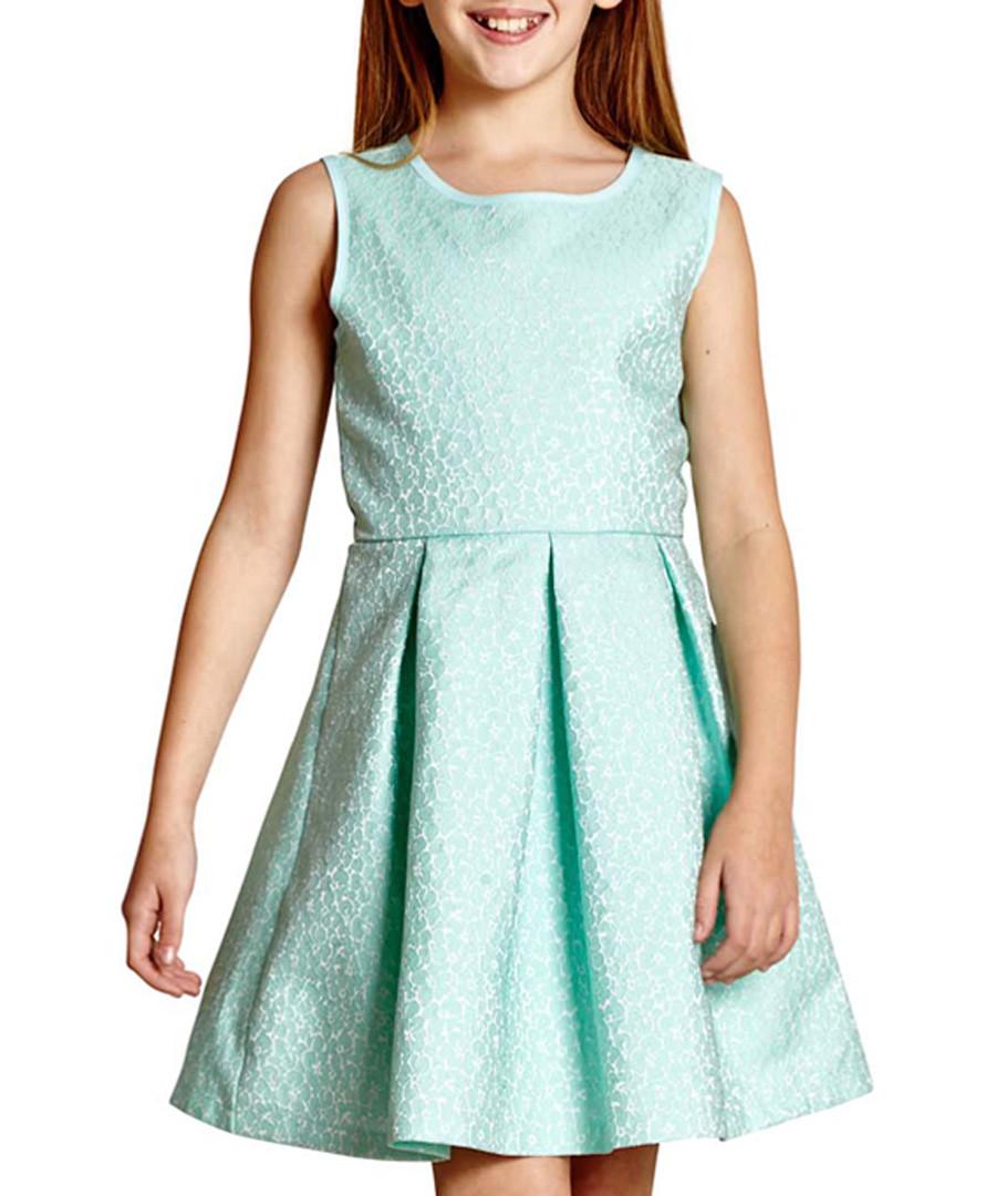Girl's Glitter Pansy mint sleeveless dress Sale - yumi girls