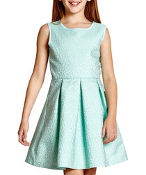 Girl's Glitter Pansy mint sleeveless dress
