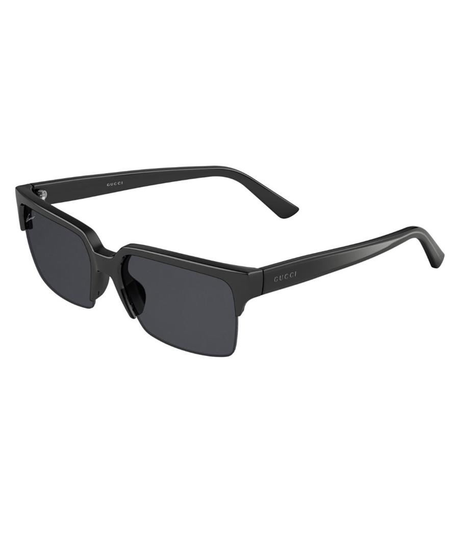 89896af3bf14 Black half-frame squared sunglasses Sale - gucci