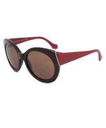 Brown & red frame rounded sunglasses