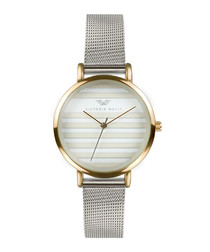 Grey & gold-tone steel mesh watch
