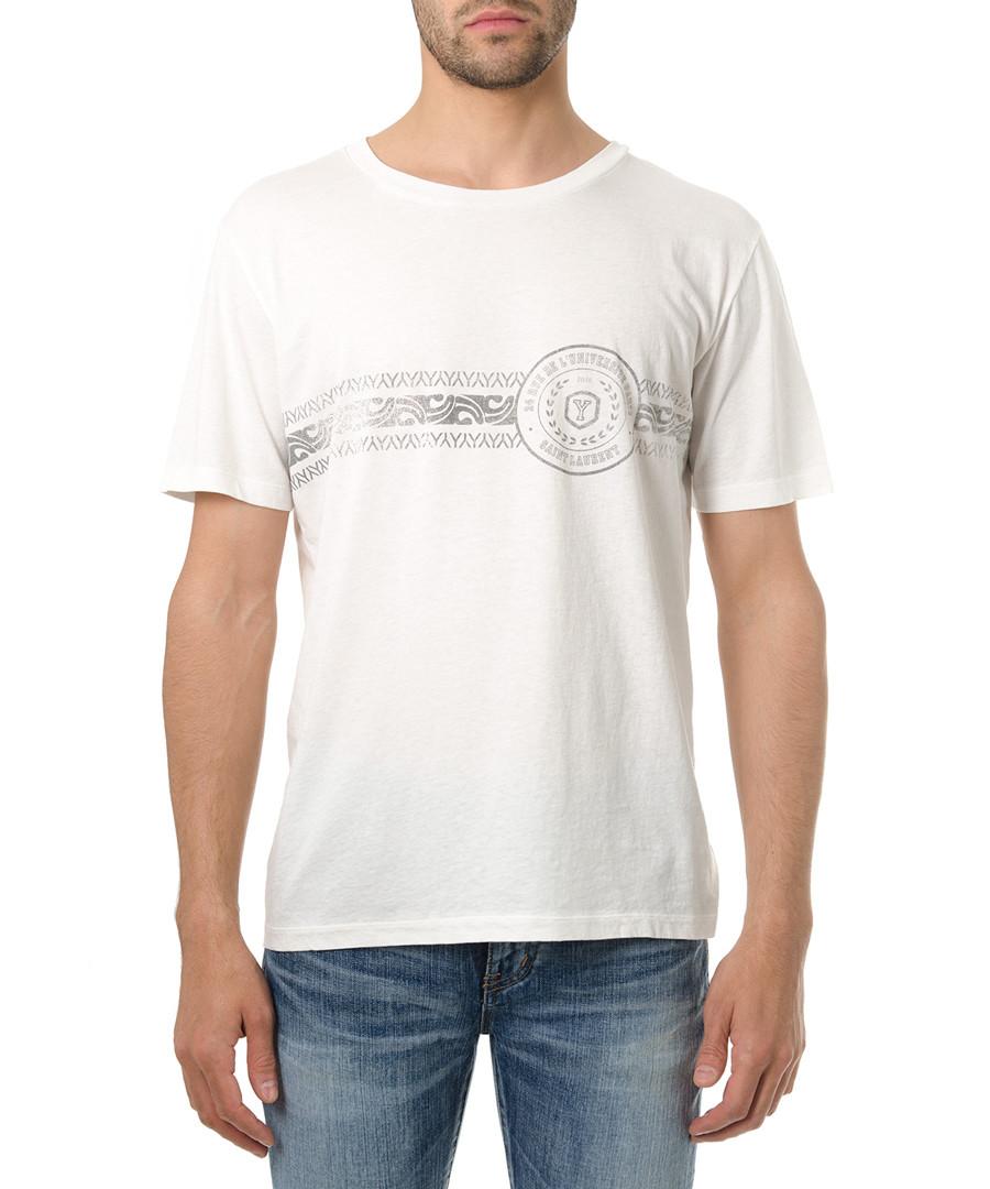 Men's white cotton logo print T-shirt Sale - saint laurent