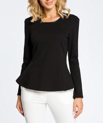 Black cotton blend peplum blouse