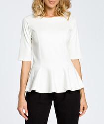 Ecru cotton blend peplum blouse