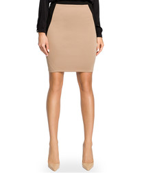 Cappuccino cotton blend mini skirt