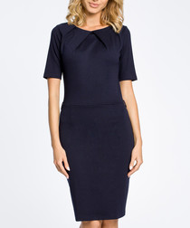 Navy cotton blend knee-length dress