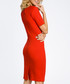 Red cotton blend knee-length dress Sale - made of emotion Sale