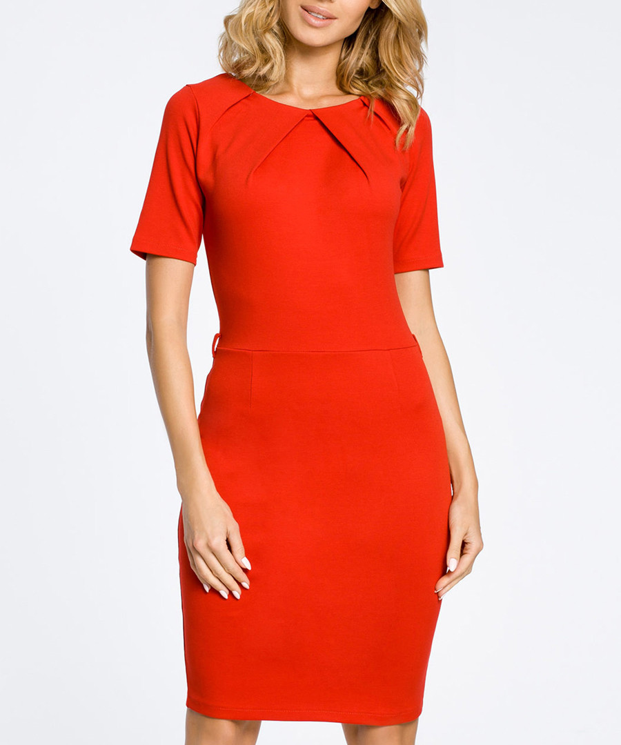 Red cotton blend knee-length dress Sale - made of emotion