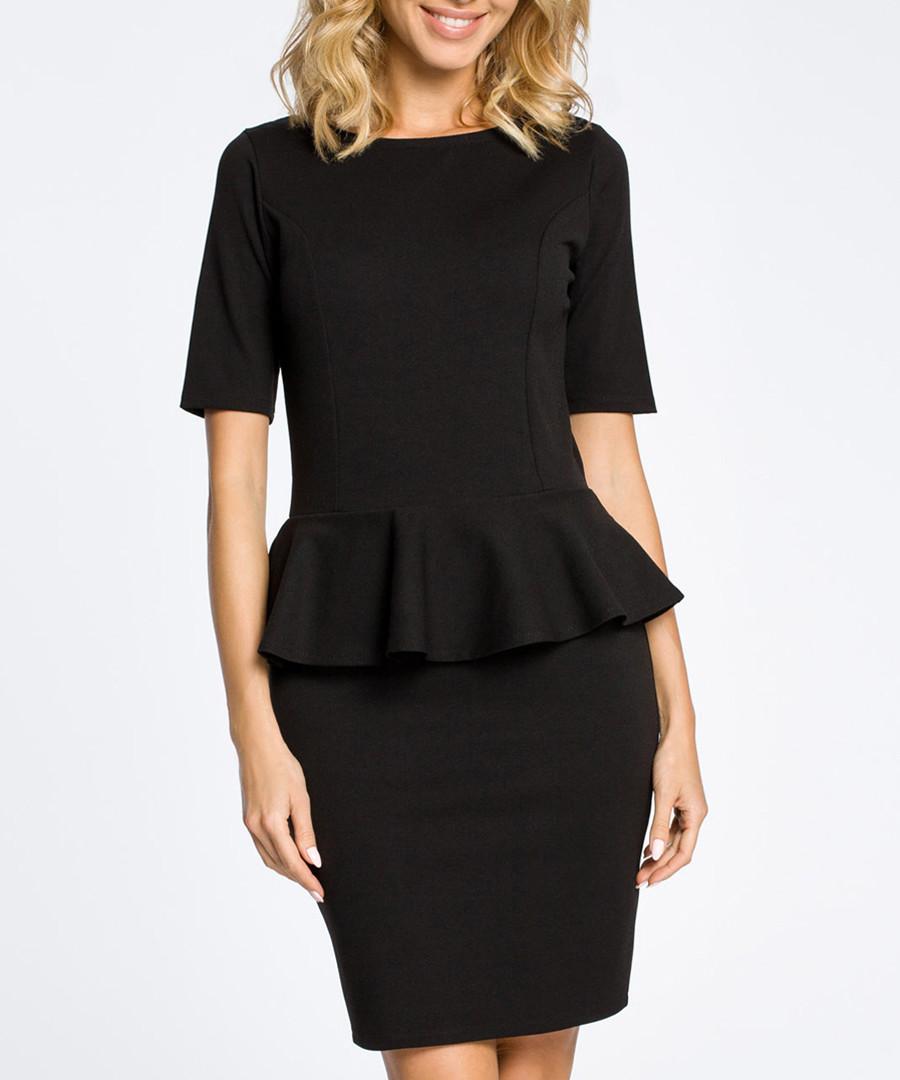 Black cotton blend peplum dress Sale - made of emotion