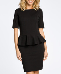 Black cotton blend peplum dress