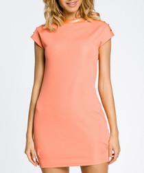 Coral short sleeve mini dress