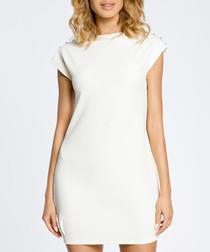 Ecru short sleeve mini dress